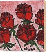 Six Roses Wood Print