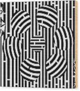 Six Shooter Illusion Maze  Wood Print