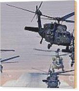 Six Uh-60l Black Hawks And Two Ch-47f Chinooks Wood Print