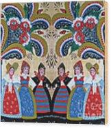 Six Women Dancing Wood Print