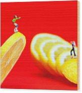 Skateboard Rolling On A Floating Lemon Slice Wood Print by Paul Ge