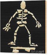 Skateboard Skeleton Wood Print