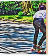 Skateboarder In Central Park Wood Print