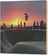 Skateboarding At Venice Beach Wood Print
