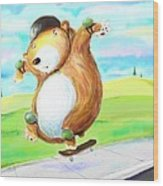 Skateboarding Bear Wood Print by Scott Nelson