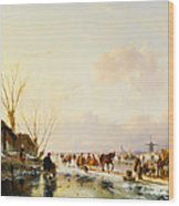 Skaters By A Booth On A Frozen River Wood Print