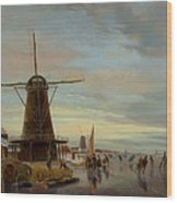 Skaters On A Frozen Waterway Wood Print