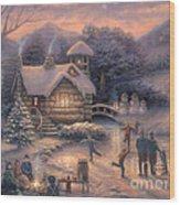 Skating By Twilight Wood Print by Chuck Pinson