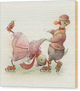 Skating Ducks 5 Wood Print by Kestutis Kasparavicius