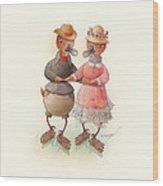 Skating Ducks 6 Wood Print by Kestutis Kasparavicius