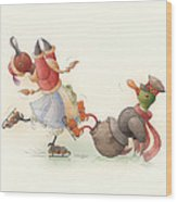 Skating Ducks 8 Wood Print by Kestutis Kasparavicius