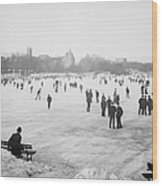 Skating In Central Park Wood Print by Anonymous