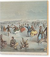 Skating In Central Park. New York Wood Print