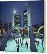 Skating In Nathan Phillips Square, City Wood Print by Peter Mintz
