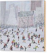 Skating Rink Central Park New York Wood Print