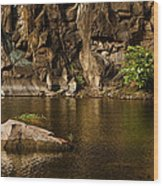 Skc 2964 The Rustic Rocks And Ripply Waters Wood Print