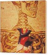 Skeleton And Heart Model Wood Print