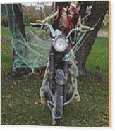 Skeleton Biker On Motorcycle  Wood Print