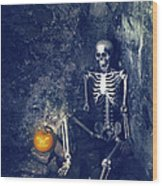 Skeleton With Jack O Lantern Wood Print