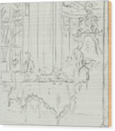 Sketch Of A Formal Dining Room Wood Print