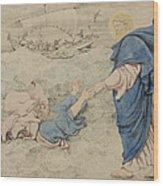 Sketch Of Christ Walking On Water Wood Print by Richard Dadd