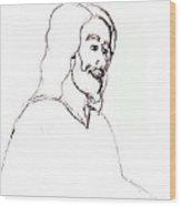 sketch of Jesus Wood Print