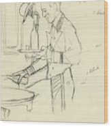 Sketch Of Waiter Pouring Wine Wood Print