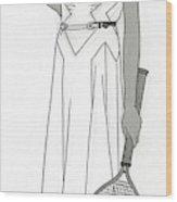 Sketch Of Woman In Tennis Dress Wood Print