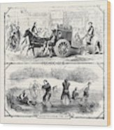 Sketches In China Peking Cab Amusements On The Ice Wood Print