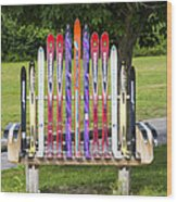 Ski Bench - Fort Foster - Maine Wood Print