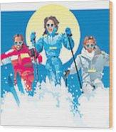 Ski Fun Art Wood Print