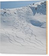 Ski Tracks In The Snow On A Mountain Wood Print by Keith Levit