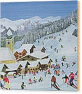 Ski Whizzz Wood Print by Judy Joel
