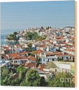 Skiathos Harbour In Greece Wood Print