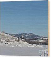Skidoo Track On Frozen Lake Wood Print