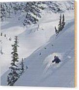 Skier Hitting Powder Below Nak Peak Wood Print
