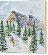 Skier In The Trees Wood Print