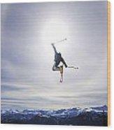 Skier Jumping, Courtenay, Bc Wood Print
