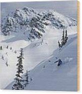 Skier Shredding Powder Below Nak Peak Wood Print