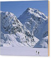 Skiers Cross Frozen Lake Harris Wood Print