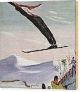 Ski Jump On Vanity Fair Cover Wood Print
