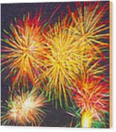 Skies Aglow With Fireworks Wood Print by Mark E Tisdale
