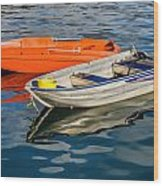 Skiffs At The Harbour Wood Print