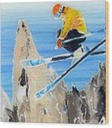 Skiing At Flegere Wood Print