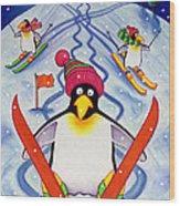 Skiing Holiday Wood Print