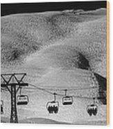 Skiing In Space Wood Print