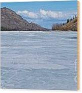 Skiing On Frozen Lake Laberge Yukon Canada Wood Print