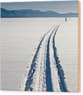 Skiing Person On Frozen Lake Wood Print