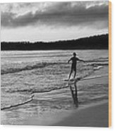 Skimboarder Sunser #1 - Black And White Wood Print