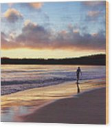 Skimboarder Sunset #2 Wood Print